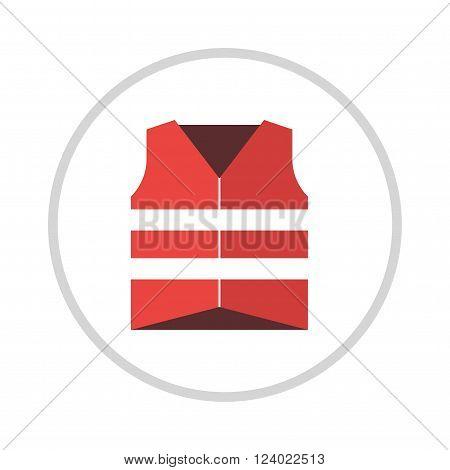Life vest jacket flat icon icon illustration. Life vest jacket. Life vest jacket safe clothing. Life vest red jacket. Life vest jacket saver water clothing equipment.