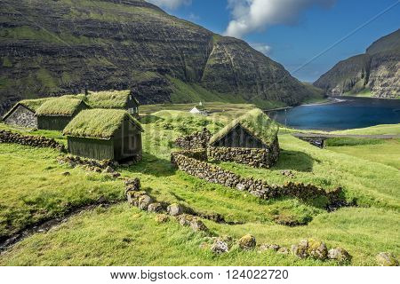 Village of Saksun located on the island of Streymoy, Faroe Islands, Denmark.