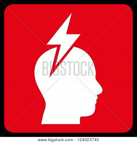 Headache vector pictogram. Image style is bicolor flat headache icon symbol drawn on a rounded square with red and white colors.