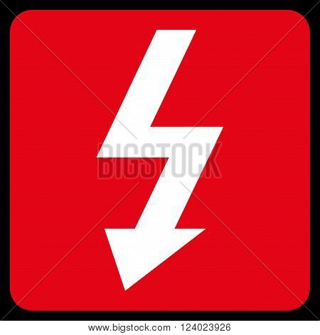 High Voltage vector pictogram. Image style is bicolor flat high voltage icon symbol drawn on a rounded square with red and white colors.