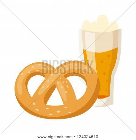 German breakfast, pretzel beer illustration. Bavarian meal with beer. Oktoberfest concept with glasses of beer, pretzels isolated on white background. German breakfast pretzel beer. German beer