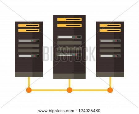 Computer server icon vector illustration. Computer server icon isolated on white background. Computer server icon vector. Computer server flat silhouette