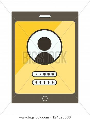 Account screen vector illustration. Mobile phone screen isolated on white background. Password screen protection vector icon illustration. Account screen flat style silhouette