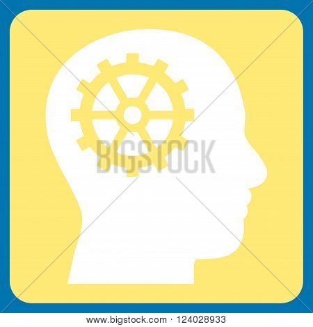 Intellect vector pictogram. Image style is bicolor flat intellect iconic symbol drawn on a rounded square with yellow and white colors.
