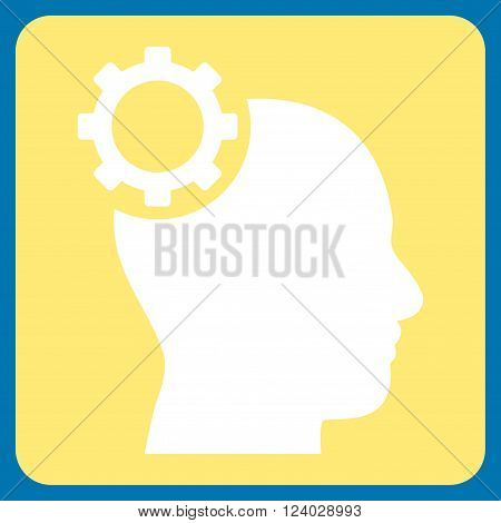 Intellect Gear vector symbol. Image style is bicolor flat intellect gear icon symbol drawn on a rounded square with yellow and white colors.