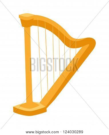Harp vector. Harp illustration. Harp isolated on white. Harp icon. Harp flat style, harp silhouette. Harp cartoon style isolated on white background. Harp gold material