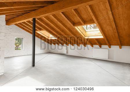Modern loft interior, nobody inside