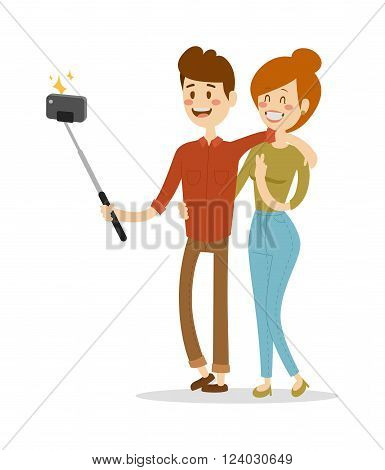 Selfie couple vector illustration. Selfie couple isolated on white background. Selfie couple vector icon illustration. Selfie couple isolated vector. Selfie couple silhouette