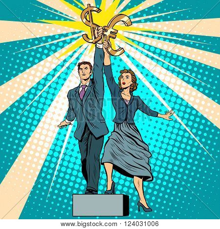 Businessman and businesswoman with dollar Euro money pop art retro style. A parody of Soviet sculpture worker and kolkhoz woman. Socialist realism. The business concept of financial success