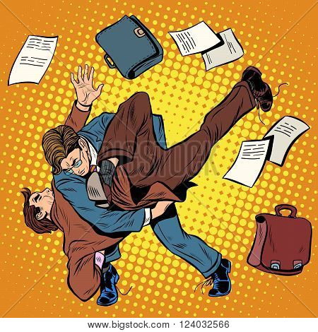Fight men businessmen pop art retro style. Combat Sambo. Business competition