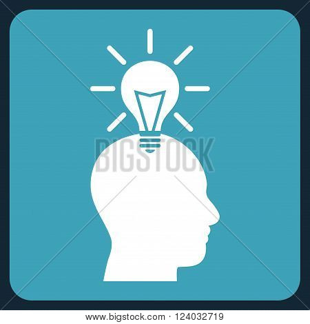 Genius Bulb vector symbol. Image style is bicolor flat genius bulb icon symbol drawn on a rounded square with blue and white colors.