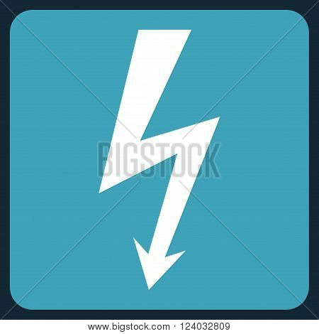 High Voltage vector pictogram. Image style is bicolor flat high voltage iconic symbol drawn on a rounded square with blue and white colors.