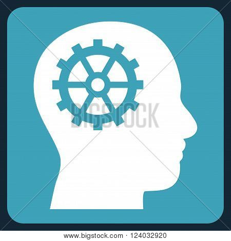 Intellect vector icon symbol. Image style is bicolor flat intellect iconic symbol drawn on a rounded square with blue and white colors.