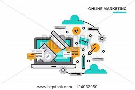 Flat line design vector illustration concept of Digital marketing, Online marketing, Social marketing. Design for Website Element , Web Banner and promotional materials. Editable Stroke.