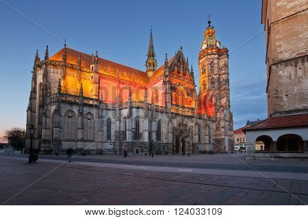 KOSICE, SLOVAKIA - MARCH 20, 2016: St. Elisabeth cathedral in the main square of Kosice city in eastern Slovakia on March 20, 2016.
