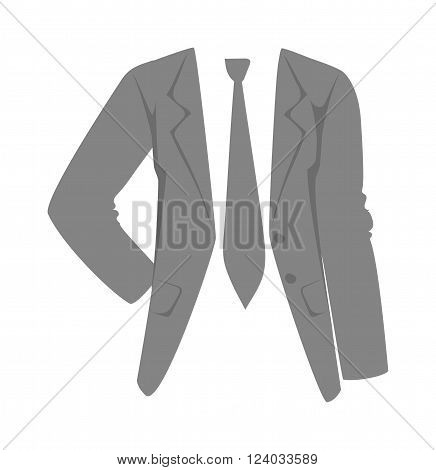 Jacket vector. Jacket illustration. Jacket isolated on white. Jacket  flat vector icon. Jacket silhouette. Jacket cartoon style. Jacket gray color
