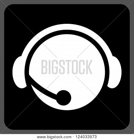 Call Center Operator vector icon. Image style is bicolor flat call center operator icon symbol drawn on a rounded square with black and white colors.