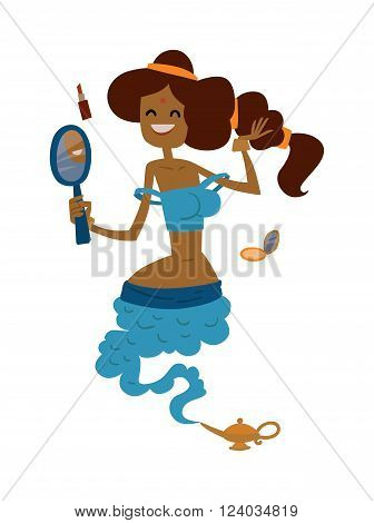 Illustration of beautiful princess gin from the magic lamp on a white background. Set of fairy tale characters cute cartoon gin. Beauty princess gin magic fairy character.