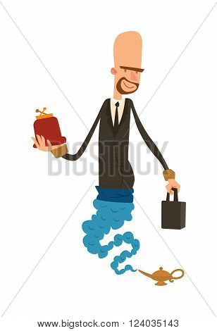 Cartoon business gin with wallet and purse coming out of magic lamp flat vector illustration. Vector cartoon business man-gin and magic lamp. Character business man flat magic vector.