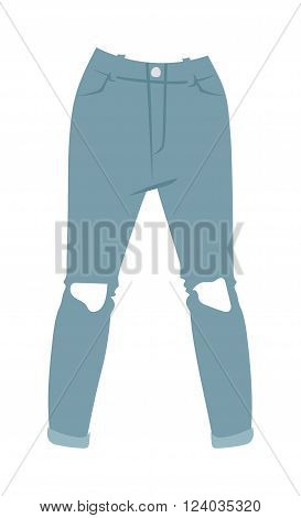 Cartoon jeans trousers details silhouettes of denim menswear. Blue jeans on white. Casual jeans isolated fashion. Flat jeans clothing style. Flat jeans clothing design.