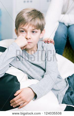 Worried Boy With School Problems