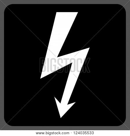 High Voltage vector symbol. Image style is bicolor flat high voltage icon symbol drawn on a rounded square with black and white colors.