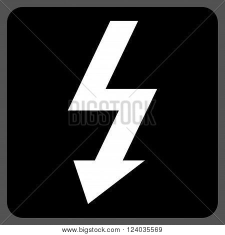 High Voltage vector icon. Image style is bicolor flat high voltage icon symbol drawn on a rounded square with black and white colors.