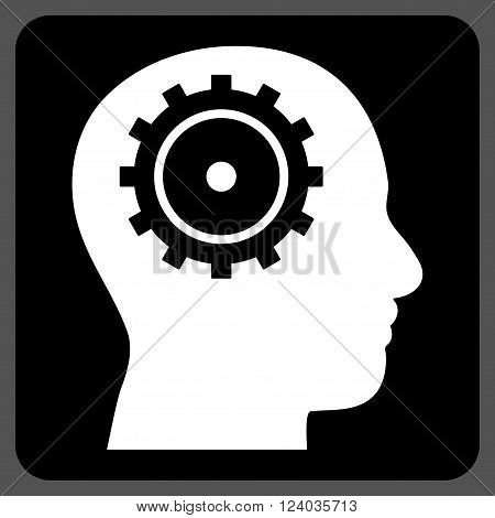 Intellect vector icon symbol. Image style is bicolor flat intellect iconic symbol drawn on a rounded square with black and white colors.