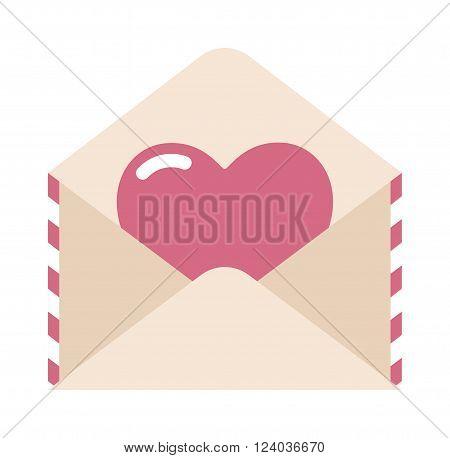 Love letter, envelope and heart sticker cartoon vector illustration. Love letter concept. Love letter romance symbol. Envelope and heart sticker. Heart sticker in love letter.