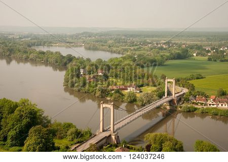 Les Andelys Suspension Bridge across Seine river in Normandy, France