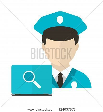 Personal computer security antivirus man safety concept vector illustration. Security concept. Antivirus. Concept of security laptop with male guard antivirus.