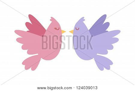 Doves couple vector icon illustration. Dove cartoon style colored birds fly couple. Valentine greeting card. Cartoon couple of doves in love vector illustration. Wedding card with doves design.