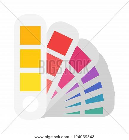 Fan panton flat vector illustration. Layout color samples to determine preferences in the printing industry. Vector fan panton, layout cartoon flat color sampler.