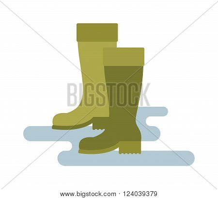 Rain boots green color vector illustration isolated on white background. Green rubber rain boots. Rain boots flat cartoon vector. Rubber boots footwear waterproof.