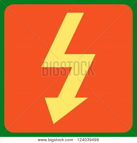 High Voltage vector pictogram. Image style is bicolor flat high voltage icon symbol drawn on a rounded square with orange and yellow colors.