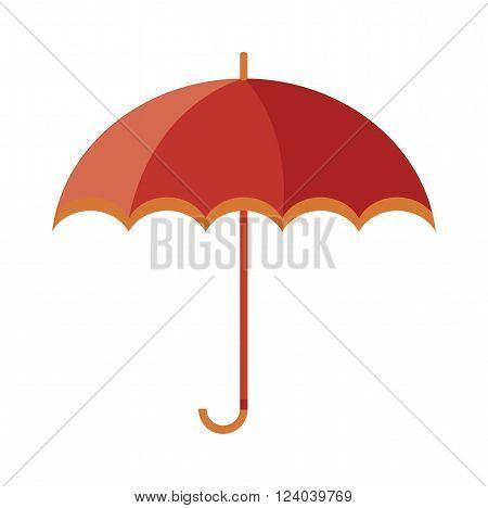Vector illustration of classic elegant opened red umbrella isolated on white background. Flat umbrella flat cartoon vector illustration. Red umbrella weather parasol.