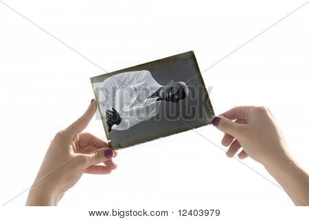 glass plate negative in the hands