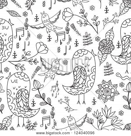 Bird and flowers Singing Summer Endless. Seamless pattern. Vector backdrop. Summer template. Use for wallpaperpattern fills web page background. Colorieng pages for adults. Colorieng book