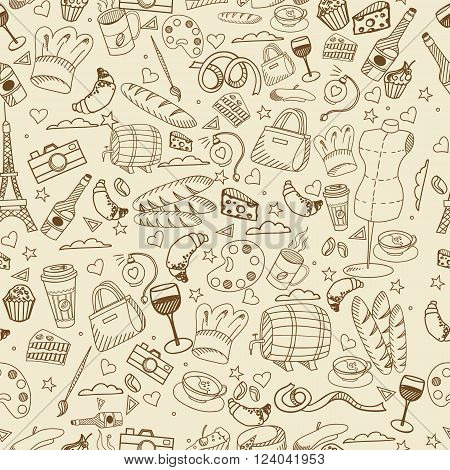 Paris seamless line art design vector illustration. Separate objects. Hand drawn doodle design elements.