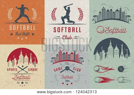 Vector set Softball badges and logos. Collection sign emblems and symbols Softball for print t shirt posters and others design.