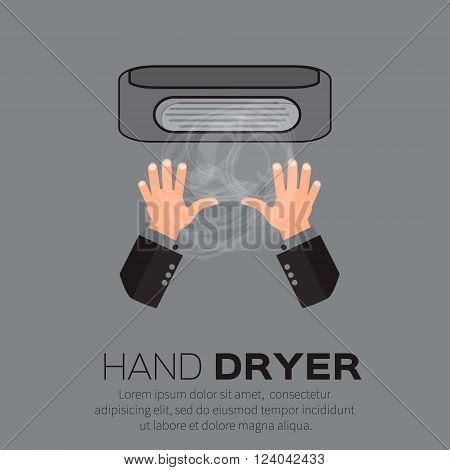 Hand Air Dryer In Public Toilet or Washrooms. Vector Illustration.