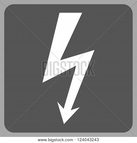 High Voltage vector symbol. Image style is bicolor flat high voltage icon symbol drawn on a rounded square with dark gray and white colors.
