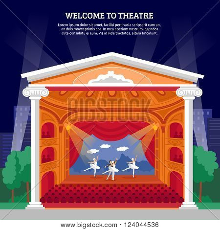 Theatre performance playbill colorful poster print with ballet dancers on stage for program booklet abstract vector illustration