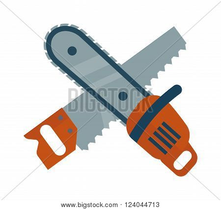 Hand saw and chainsaw flat vector isolated on white background. Saw wood processing tool. Flat hand saw tools, chainsaw equipment. Some saws icons design.