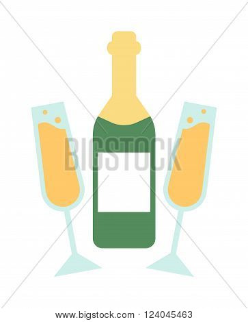 Champagne bottle and glass flat vector. Wedding champagne bottle and champagne glass. Bottle and glasses with champagne. Party drink.