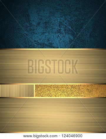 Background of golden ribbons with blue accents. Template for design. copy space for ad brochure or announcement invitation, abstract background.