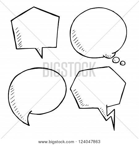 Chat and think doodle bubbles vector. hand drawn speech bubble