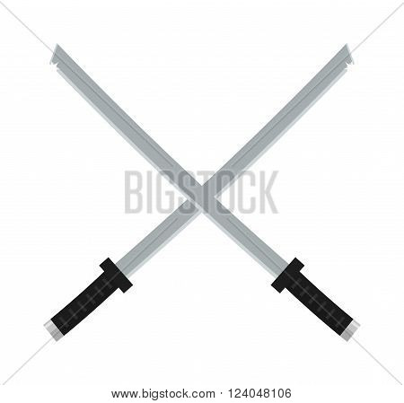Katana, japanese sword traditional weapon and japanese metallic swords knife. Japanese swords icon cartoon vector illustration on white background.
