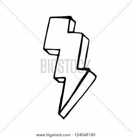 Lightning doodle icon. stock hand drawn vector illustration
