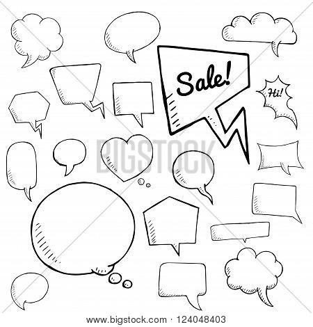 vector set of speech bubbles. group of doodle speech bubble on white background
